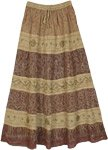 Khaki Boho Chic Long Skirt with Mixed Paisley Print