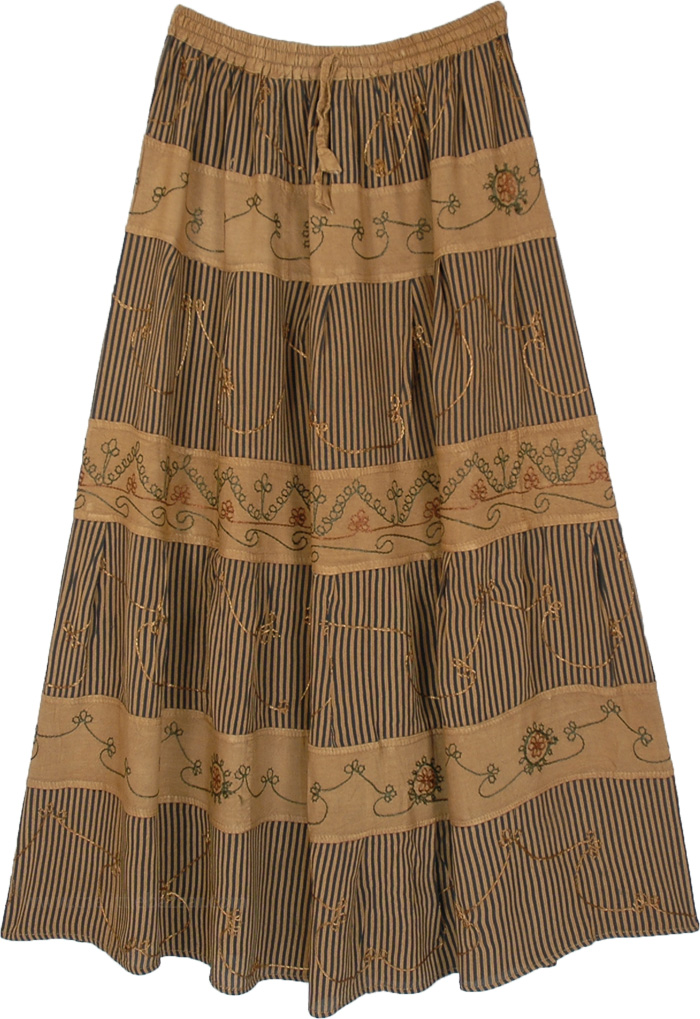Potters Clay Ankle Length Tiered Skirt with Embroidery