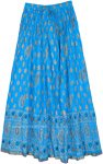 Vivid Cerulean Crinkled Cotton Summer Long Skirt