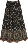 Black Crinkled Cotton Long Skirt with Paisley Print