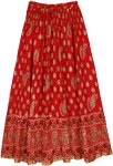 Red Crinkled Cotton Golden Paisley Print Long Skirt