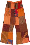 Free Spirit Patchwork Cotton Lounge Pants in Orange