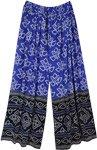Persian Blue Palazzo Pants in Jaipuri Print