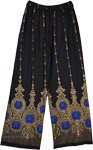 Black Wide Leg Lounge Pants with Golden Print