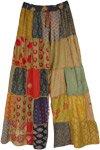 Sandstone Patchwork Bohemian Wide Leg Rayon Pants