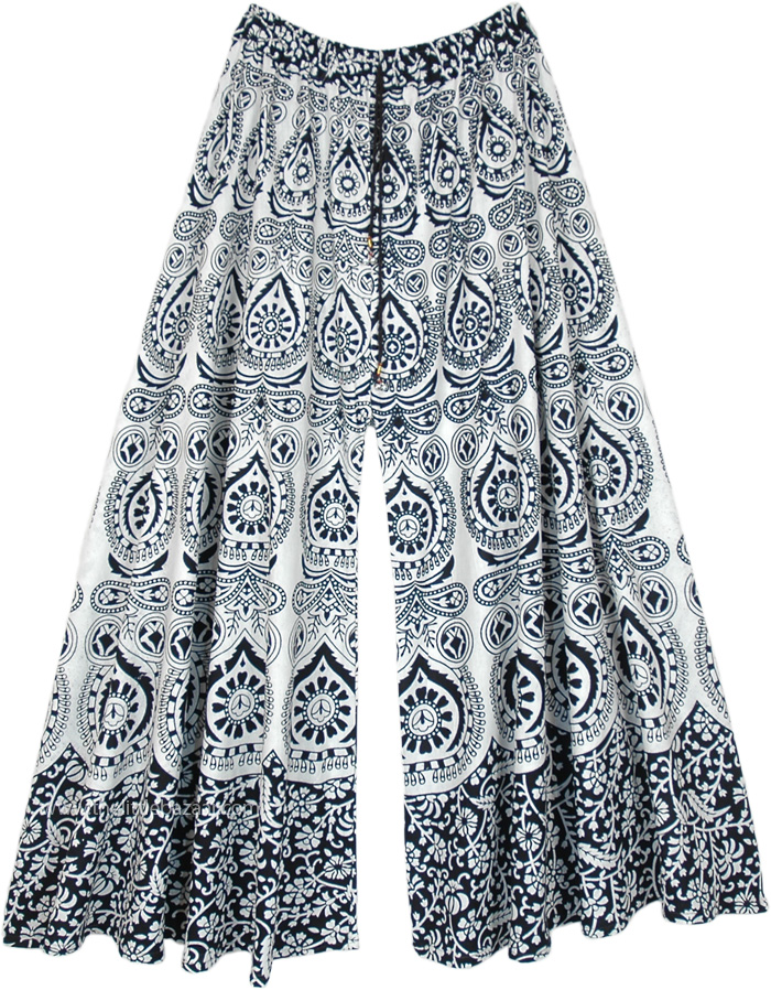 Black White Wide Leg Flared Cotton Pants with Ethnic Print