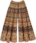 indian Print Wide Leg Palazzo Pants