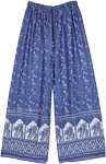 Cobalt Blue Palazzo Pants with Traditional Elephant Print