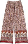 Ethnic Wide Leg Elephant Printed Rayon Lounge Pants