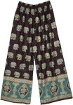 Wide Leg Lounge Pants with Golden Elephant Print