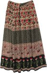 Flower Motif Boho Rayon Long Skirt