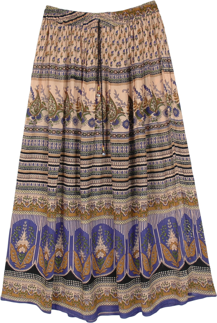Traditional Flower Motif Maxi Rayon Skirt
