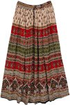 Tribal Patterned Bohemian Maxi Rayon Skirt