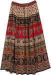 Street Wear Rayon Skirt with Tribal Style Print