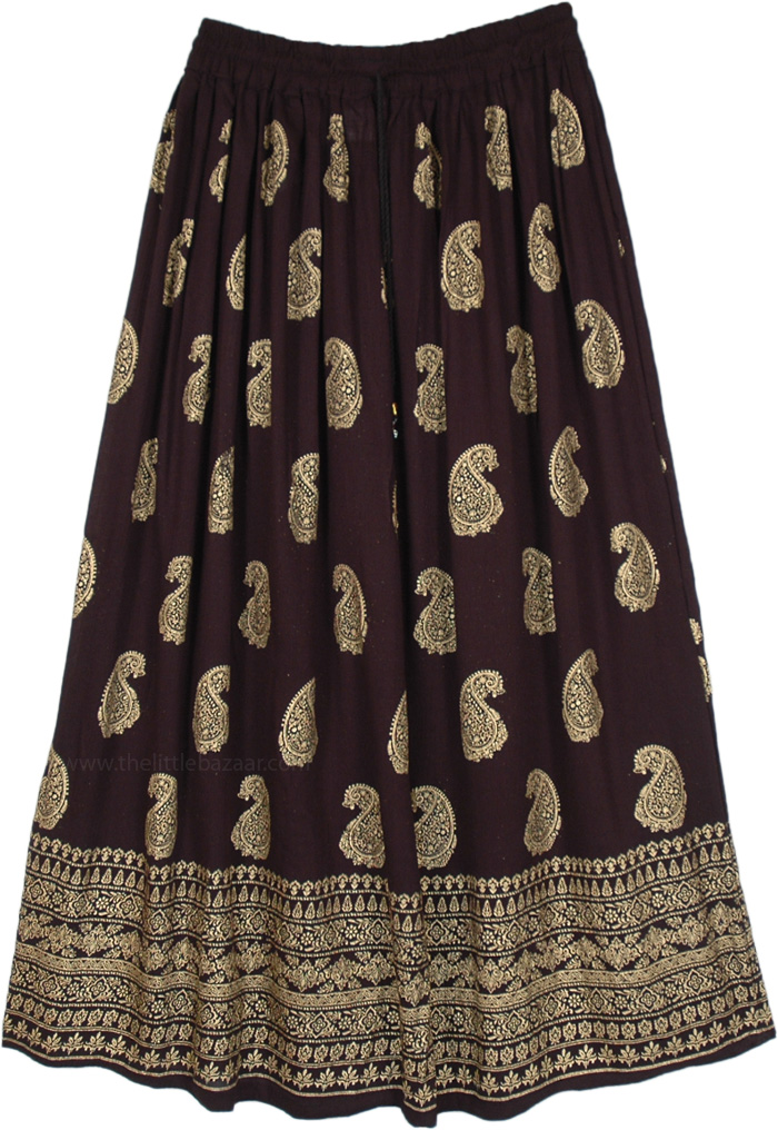 Golden Paisley Painted Rayon Skirt in Midnight Black