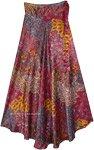 Royal Purple Shiny Floral Long Wrap Skirt