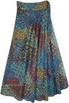 Fantasy Forest Blue Toned Long Rayon Wrap Skirt