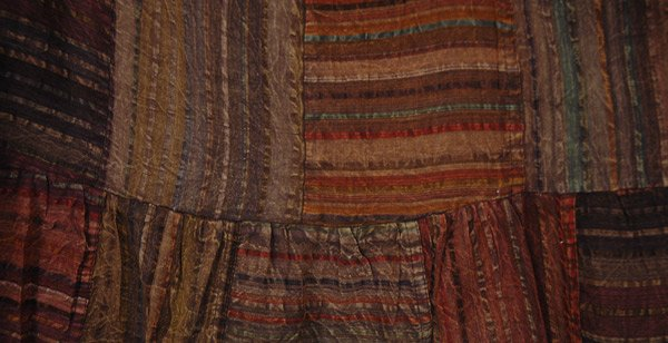 Striped Patchwork Gypsy Long Skirt in Earth Tones