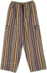 Unisex Multicolor Vertical Stripes Cargo Pants