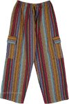 Unisex Multicolor Vertical Stripes with Geometrical Pattern Cargo Pants