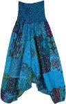 Blue Lagoon Patchwork Aladdin Pants with Smocked Waist