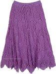 All Crochet Pattern Long Cotton Skirt in Purple