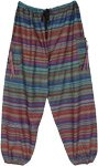 Hippie Wave Striped Cotton Harem Pants with Pockets