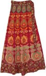 Royal Maroon Ethnic Block Printed Cotton Wrap Skirt
