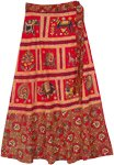 Printed Animal Frames Red Wrap Around Skirt