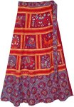 Tribal Safari Mahogany Red Cotton Wrap Around Skirt
