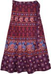 Burgundy Animal Print Long Wrap Skirt