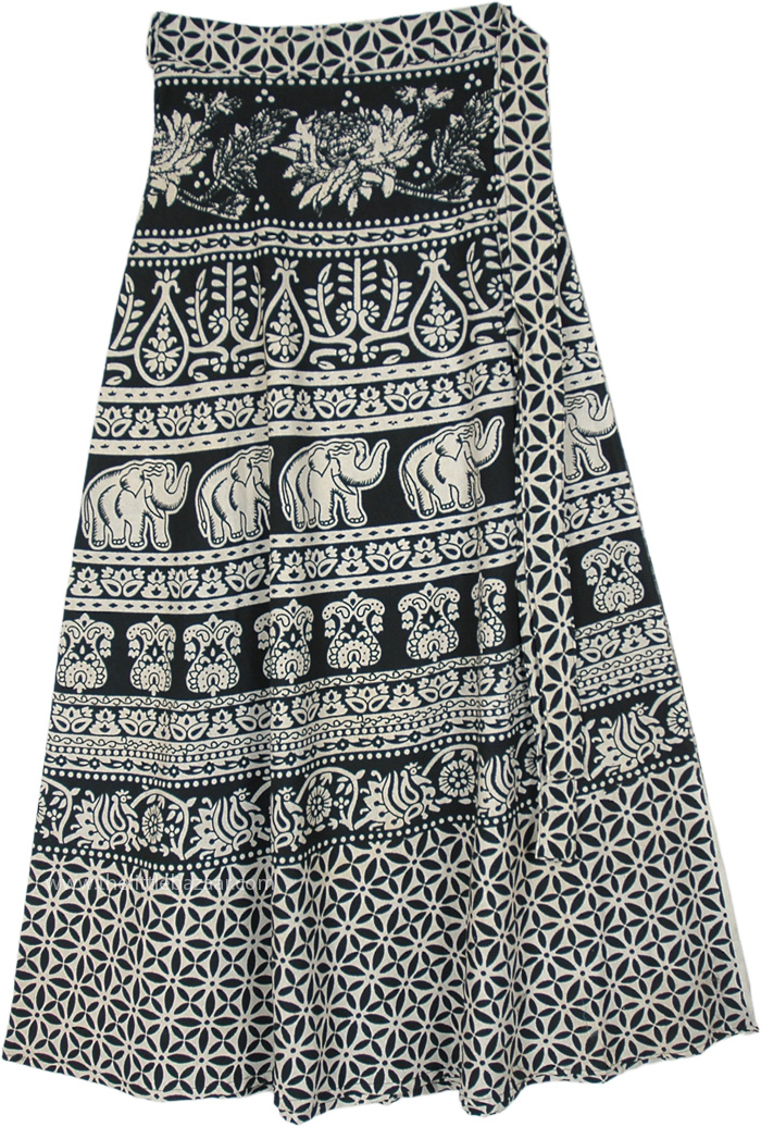 Elephant Floral Ethnic Printed Black White Wrap Skirt