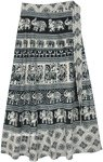Black White Elephant Kingdom Ethnic Wrap Around Skirt