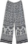 XS To S Black White Ethnic Elephant Print Wide Leg Pants