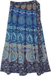 Peacock Mandala Maxi Cotton Wrap Skirt