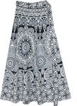 Bohemian Paisley Black and White Wrap Around Skirt