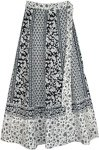 Black and White Ethnic Floral Wrap Around Skirt