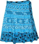 Azure Sky Floral Plus Size Midi Wrap Around Skirt