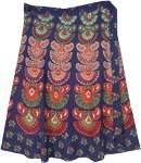 Plus Size Mid Length Ethnic Block Print Cotton Wrap Skirt