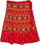 Plus Size Tribal Print Red Cotton Wrap Skirt