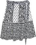 Floral and Paisley Plus Short Wrap Skirt in Black And White
