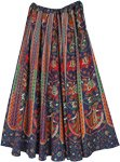 Elephant Printed Deep Navy Cotton Long Drawstring Skirt