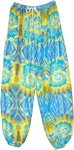 Aquatic Splash Tie Dye Style Printed Harem Pants
