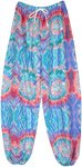 Cool Blue Coral Hippie Harem Pants with Tie Dye Style Print