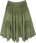 Vintage Green Hanky Hem Mid Length Rayon Skirt