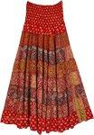 Phoenix Paisley Silk Blend Red Skirt Dress