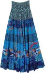 Blue Galaxy Mixed Print Tiered Skirt Dress with Smocking