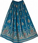 Teal Blue Sequin Skirt with Floral Motifs