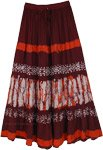 Batik Printed Rayon Long Skirt in Brown