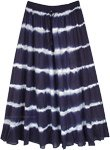 ink Blue Summer Waves Tie Dyed Long Cotton Skirt